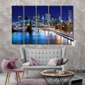 Night New York art printing on canvas, United States large artwork