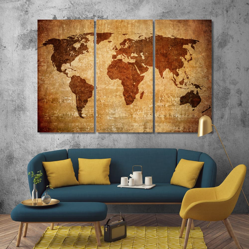 Vintage World Map Wall Decor Ideas For Living Room