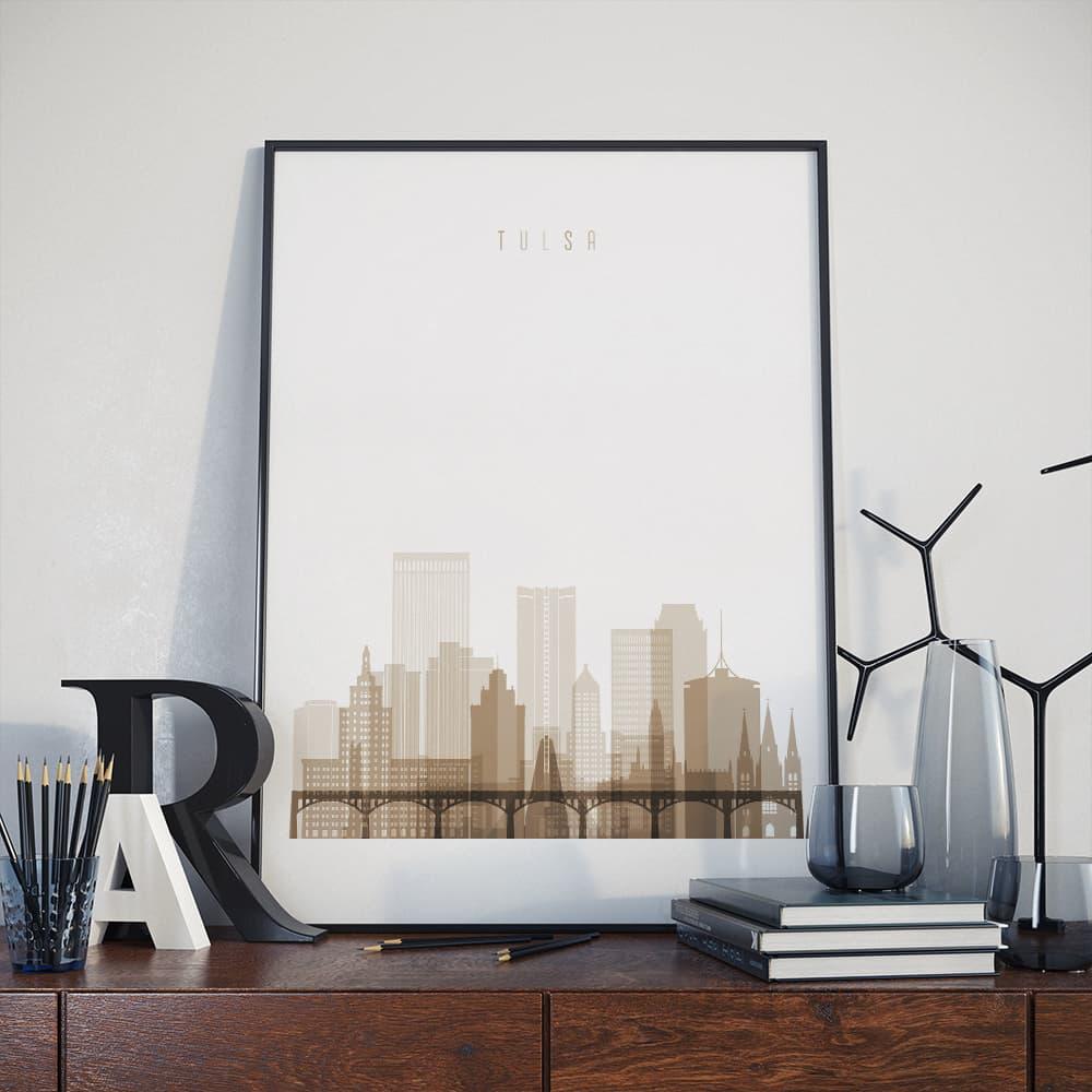 Tulsa home decor print, Oklahoma modern art wall decor