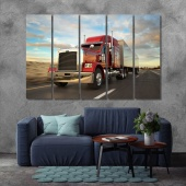 Red truck wall art living room, trailer truck canvas wall decor