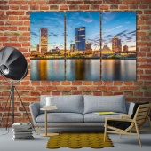 Milwaukee wall art and decor, evening city canvas art prints