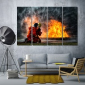 Firefighter training contemporary wall art decor for office