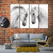 White horses animal pictures home decor, black and white home art