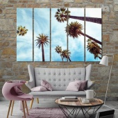 The palm trees living room wall decor ideas, high trees wall paintings
