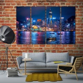 Hong Kong large framed artwork, China beautiful night city canvas art