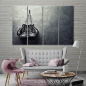 Boxing gloves artwork for offices, fight sport black and white art
