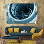 Turbine blades of an aircraft jet engine print canvas art