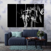 Powerlifting black and white framed wall art, gym print canvas art