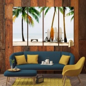Surfboard and palm tree home decor pictures, beach cool art on canvas