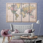 Vintage map art printing on canvas, push pin world map home decor