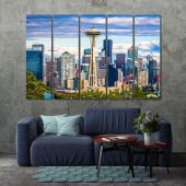 Seattle canvas wall art contemporary, Washington print canvas art