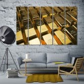 Gold bars large paintings for living room art wall