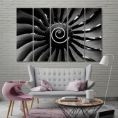 Airplane turbine black and white framed wall art, print canvas art