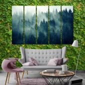 Foggy forest wall art paintings for living room, spruce art for home
