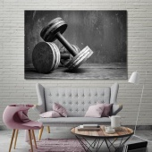 Dumbbells office wall decorations, lifting weights canvas decor