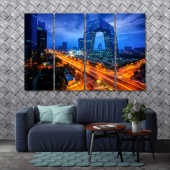 Beijing night cityscape large wall art, China canvas art panels