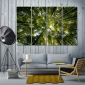 Forests large wall decor ideas for living room, tree crowns artwork