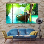 Boat and islands art printing on canvas, Thailand large wall painting