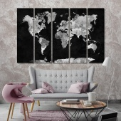 World map black and white framed wall art, traveling around the world