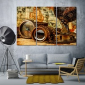 Vintage items on ancient map decorative wall pictures