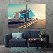 Blue truck art for home and office, truck on the road print canvas art