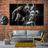 Fitness large black and white wall art, gym art for office