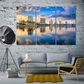 Saint Petersburg canvas art, Florida downtown city skyline on the bay