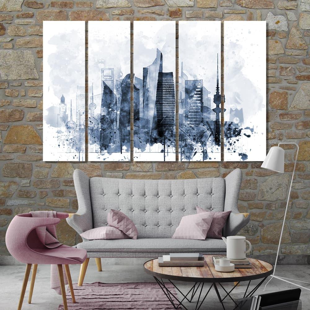 Kuwait City Sunset CANVAS ART PRINT Box Framed Picture Home Decor