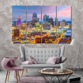 Kansas City canvas wall art contemporary, Missouri artwork pictures
