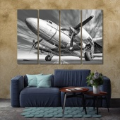 Old airplane wall decorations for living room ideas