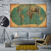 Old world map pictures for living room walls, vintage map print canvas