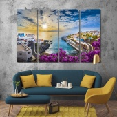Sunrise in Puerto de Santiago city art on wall, Spain print canvas art
