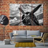 Old airplane in black and white art prints on canvas
