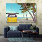 Surfing artistic prints on canvas, palm trees bedroom wall art decor