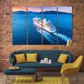 A cruise ship modern wall art for living room, ship print canvas art