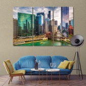 Chicago art for home, Illinois cityscape print canvas art
