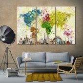 World map with monuments wall art for bedroom, watercolor world map