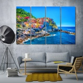 Colorful cityscape in Cinque Terre, Italia canvas prints art