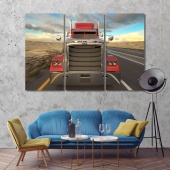 Truck on the road wall art for office, red truck artwork