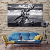 Vintage aircraft contemporary wall art decor, airplane engine wall art