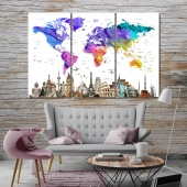 World map with monuments artistic prints on canvas