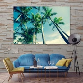 High palms trees large contemporary wall art, palm leaves art for home