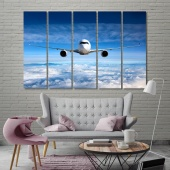 The passenger plane canvas wall decor, aircraft in flight art wall