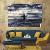 Submarine decorations for living room walls, boat canvas art prints