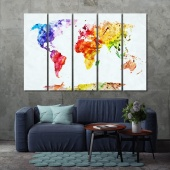 Watercolor World Map artistic prints on canvas, white map artwork
