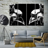 American football large black and white wall art decor