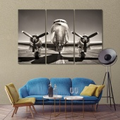 Vintage airplane on a runway wall art canvas prints
