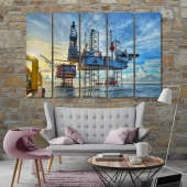 Oil drilling wall art for office, oil well on water print canvas art