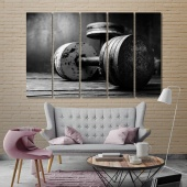 Dumbbells large black and white wall art, weightlifting art on wall