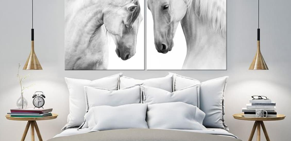 Room interiors with two white horses motifs